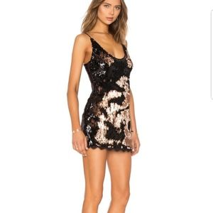 Free People black/gold reversible sequin dress